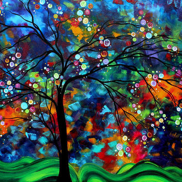 Abstract Art Original Landscape Painting Bold Colorful Design SHIMMER IN THE SKY by MADART Painting by Megan Duncanson - Abstract Art Original Landscape Painting Bold Colorful Design SHIMMER IN THE SKY by MADART Fine Art Prints and Posters for Sale