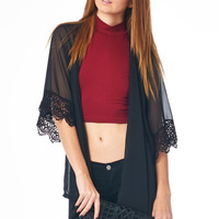 Black Kimono with Crochet Cuff and Hemline