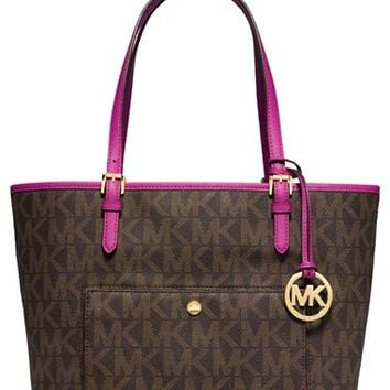 Women's MICHAEL Michael Kors 'Large Jet Set' Signature Snap Pocket Tote - Brown