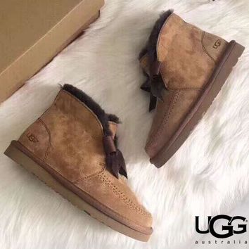 Free shipping-UGG 2019 new low-cut plus velvet short tube snow boots