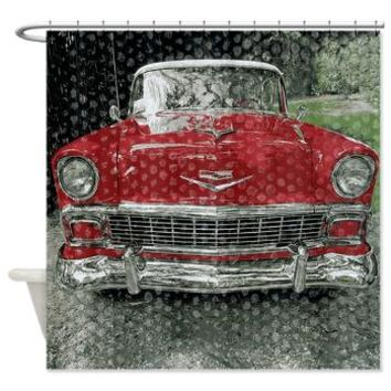 Classic Red Fifties Car Shower Curtain> Coastal, Vintage and Urban Chic Shower Curtains> Rebecca Korpita Coastal Design