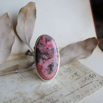 Size 8 - Pink Crazy Lace Agate Silvertone Ring