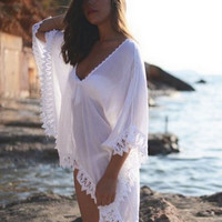 Women Sexy Beach Dress Sexy Strap Sheer Floral Lace Hippie Boho Dress Wear