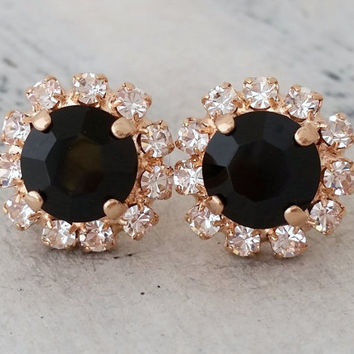 Rose gold black crystal stud earrings, Bridesmaids gift, Bridal earrings, black stud earrings, Swarovski crystal halo studs, gold or silver