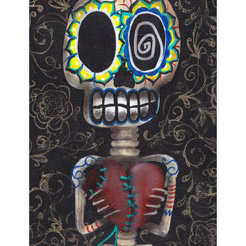 Lowbrow Toma Mi Corazon Art Print by Artist Abril Andrade
