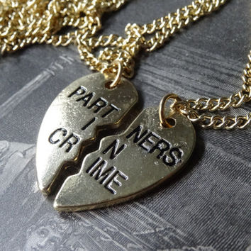 2- Partners in Crime Best Friend Heart Necklaces Pull Apart Broken Heart Shaped Unisex Pendants Gold Maid of Honor Gifts Under Ten Dollars