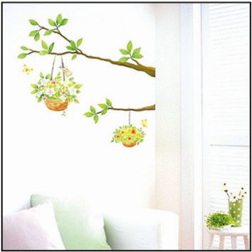 Green Flower Pot Hanging On The Tree Wall Sticker Decal Vinyl Art Home Decor