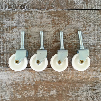 "Casters Industrial Caster Metal Swivel Casters 1 2/3"" Diameter Hard Plastic Wheel Casters Salvaged Hardware Furniture Wheels White Casters"