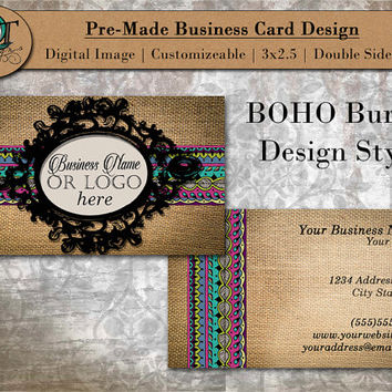 BOHO Gypsy Style | Standard Business Card | 3.5 x 2 inch | Double Side | Business Card Design | Premade Design | Graphic Design