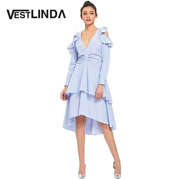 VESTLINDA Ruffles Cold Shoulder Blue Striped Layered Midi Dress Autumn Bohemian  Women Casual V Neck Empire Long Sleeve Robe Vestidos