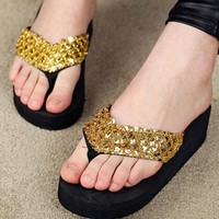 2016 Summer Fashion Women Sandals Sequined Bling Sandals Shoes Gladiator Beach Wedge Flip Flops Lady Slippers Platform Sandals