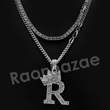 Iced Out King Crown R Initial Pendant Necklace Set.