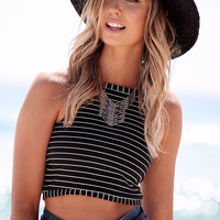 Black Stripe Crop