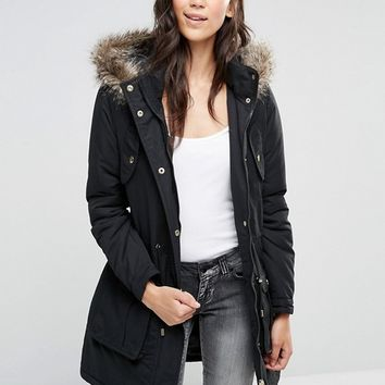 Brave Soul Hooded Parka With Faux Fur Trim at asos.com