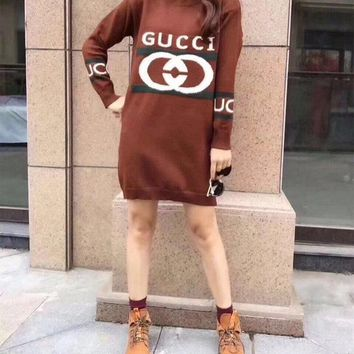 Gucci Women Casual Fashion Letter Knit Long Sleeve Medium Long Section Sweater Mini Dress