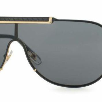VONEA7H New Versace Men's Sunglasses VE2140 100287 Gold Frame Gray Shield Lens 40mm