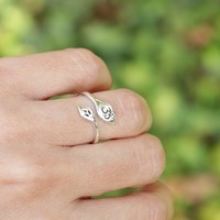 Om Ring, Adjustable Sterling Silver Om Ring