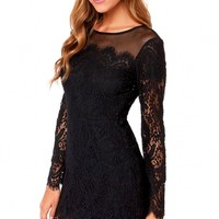 Long-sleeve Lace Mini Dress - OASAP.com