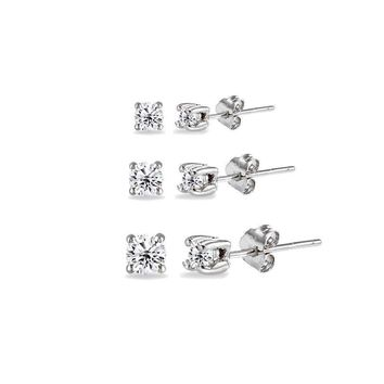 3 Pair Set Round Cubic Zirconia Stud Earrings in 925 Silver, 2mm 3mm 4mm