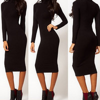 Black Turtleneck Long Sleeves Midi Dress