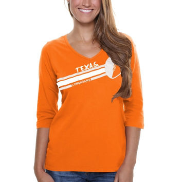 Texas Longhorns Ladies Football Glitter Half Sleeve V-Neck T-Shirt - Burnt Orange