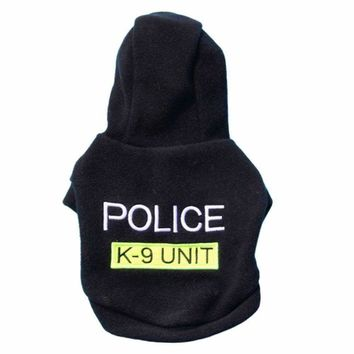 Small Puppy Clothes Hoodie police Sport Clothing Jacket for Dogs Puppy Pet Chihuahua dog coat costume