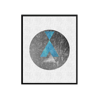 Moon Art Galaxy Geometric decor Geometric Art Print Abstract Triangle minimalist Watercolors Print Modern art Black and