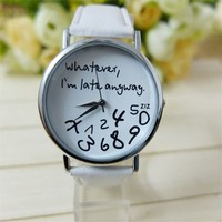 """U-beauty Unisex Women Ladies Girl"""" Whatever, i'm late anyway"""" Letter Leather Strap Watches Quartz Wrist Watch (White)"""