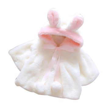 Baby Girl's Fall/Winter White Fleece Bunny Jacket w/Hood