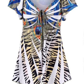 Zebra Pattern Empire Waist Asymmetrical T-Shirt