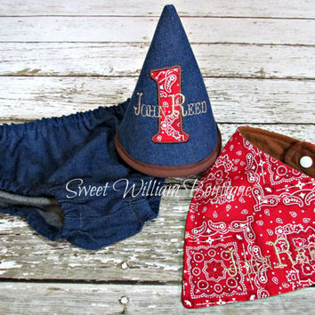 Western Cake smash outfit Cowboy boys 1st birthday set Birthday hat diaper cover and bandanna bib blue denim first birthday baby photo shoot