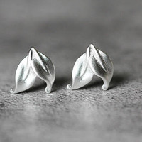 Delicate Leaf Earrings, Sterling Silver Leaf Stud Earrings, tree leaf earrings, silver leaf studs earrings, Leaf Jewelry, gifts for her