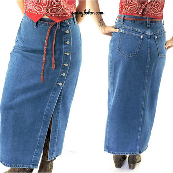 denim maxi skirt / size M 7 / 8 / long jean skirt / 80s retro country western high waisted blue jean skirt