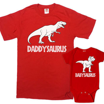 Matching Father And Baby Shirt Dad And Daughter Shirts Daddy And Son Gifts Daddy And Me Clothing Daddysaurus Babysaurus Bodysuit - SA635-636