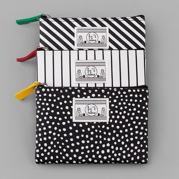 Pattern coated cotton small zipper pouch