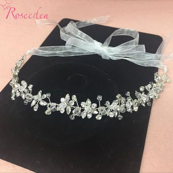Handmade Bridal Crystal Rhinestone Hair Piece Women White Simulated-pearl DIY Pricess wedding tiaras Crown Accessories RE191
