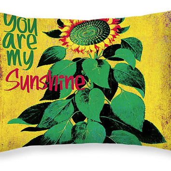 Lumbar Pillow - You Are My Sunshine, colorful sunflower cushion, gift idea, dorm decor, home decor, friendship engagement anniversary