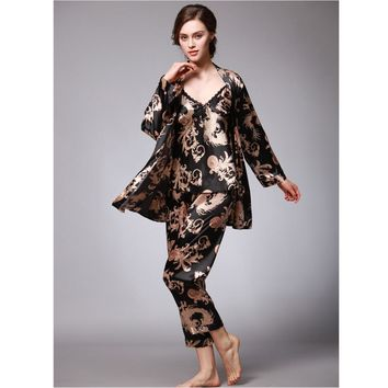 Soft Silk Pajamas Set, Ladies Summer Dragon Robe, Printing Home Clothes Three-Piece Suit Nightgown Sleepwear