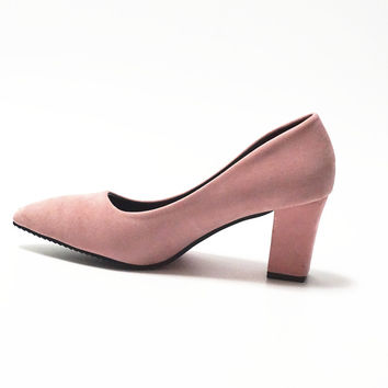Women's 7.5 cm Block Heel sexy pointed toed woman pumps Summer EUR 34 -39 Free shipping