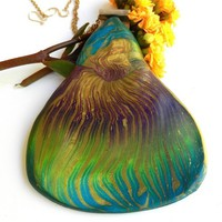 Gold, Teal, Purple, Green Original Handmade Pendant by Polly Ceramica
