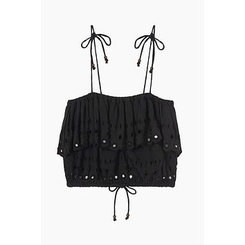 Damara Ruffle Cropped Top - Black