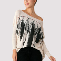 Indian Feather Print Jumper - New Arrivals - Retro, Indie and Unique Fashion