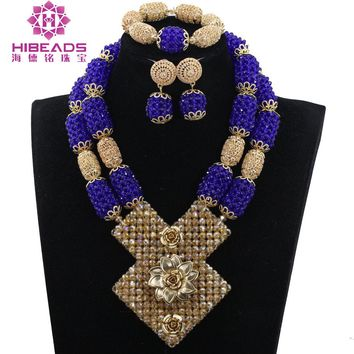 2017 Royal Blue African Jewelry Sets Nigerian Wedding Beads Costume Jewelry Sets Traditional Wedding Gift Free Shipping WE054