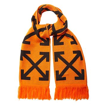 Off White Autumn And Winter New Fashion Letter Cross Arrow Print Women Men Keep Warm Scarf Orange