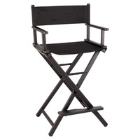 Sunrise Black Aluminum Foldable Portable Professional Makeup Artist Director Chair - 29 inch