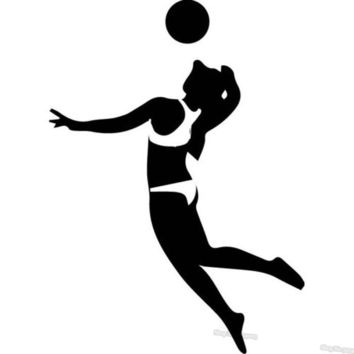 Sport Volleyball Player Wall Sticker Ball Silhouette Volleyball Wall Stickers Sport Decor Art Decals For Tenns L014
