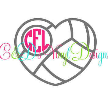 Volleyball Monogram Decal - Monogram Volleyball Decal - Monogram Car Decal - Monogram Decal - Car Decal -Volleyball Decal - Bow Volleyball