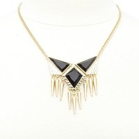 Faceted Stone & Spike Collar Necklace