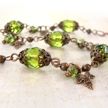 Olivine and Copper Bracelet - Nature Woodland Bracelet - Chunky Green Bracelet - Autumn Maple Leaf Bracelet - Vintage Copper Autumn Jewelry