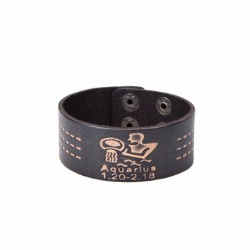 Leather Bracelet -Aquarius